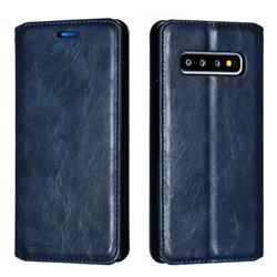 Retro Slim Magnetic Crazy Horse PU Leather Wallet Case for Samsung Galaxy S10 (6.1 inch) - Blue