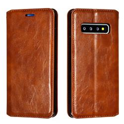 Retro Slim Magnetic Crazy Horse PU Leather Wallet Case for Samsung Galaxy S10 (6.1 inch) - Brown