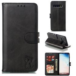 Embossing Happy Cat Leather Wallet Case for Samsung Galaxy S10 (6.1 inch) - Black