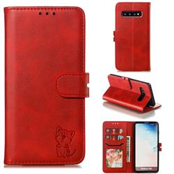 Embossing Happy Cat Leather Wallet Case for Samsung Galaxy S10 (6.1 inch) - Red