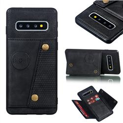 Retro Multifunction Card Slots Stand Leather Coated Phone Back Cover for Samsung Galaxy S10 (6.1 inch) - Black