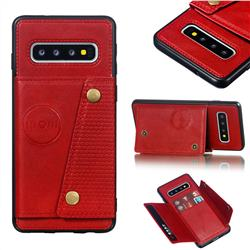 Retro Multifunction Card Slots Stand Leather Coated Phone Back Cover for Samsung Galaxy S10 (6.1 inch) - Red