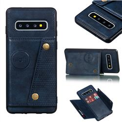 Retro Multifunction Card Slots Stand Leather Coated Phone Back Cover for Samsung Galaxy S10 (6.1 inch) - Blue