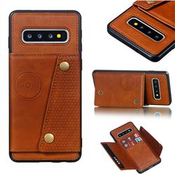 Retro Multifunction Card Slots Stand Leather Coated Phone Back Cover for Samsung Galaxy S10 (6.1 inch) - Brown