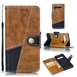 Retro Magnetic Stitching Wallet Flip Cover for Samsung Galaxy S10 (6.1 inch) - Brown