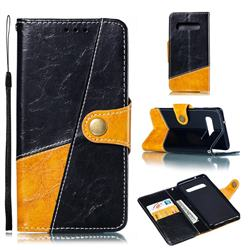 Retro Magnetic Stitching Wallet Flip Cover for Samsung Galaxy S10 (6.1 inch) - Black