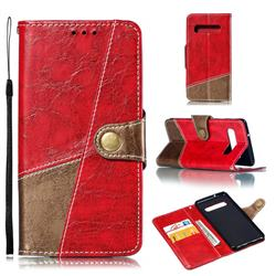 Retro Magnetic Stitching Wallet Flip Cover for Samsung Galaxy S10 (6.1 inch) - Rose Red