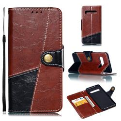 Retro Magnetic Stitching Wallet Flip Cover for Samsung Galaxy S10 (6.1 inch) - Dark Red