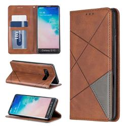 Prismatic Slim Magnetic Sucking Stitching Wallet Flip Cover for Samsung Galaxy S10 (6.1 inch) - Brown