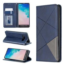 Prismatic Slim Magnetic Sucking Stitching Wallet Flip Cover for Samsung Galaxy S10 (6.1 inch) - Blue