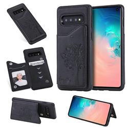Luxury Tree and Cat Multifunction Magnetic Card Slots Stand Leather Phone Back Cover for Samsung Galaxy S10 (6.1 inch) - Black