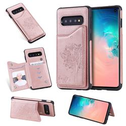 Luxury Tree and Cat Multifunction Magnetic Card Slots Stand Leather Phone Back Cover for Samsung Galaxy S10 (6.1 inch) - Rose Gold