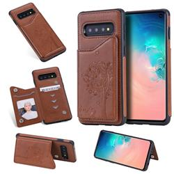 Luxury Tree and Cat Multifunction Magnetic Card Slots Stand Leather Phone Back Cover for Samsung Galaxy S10 (6.1 inch) - Brown