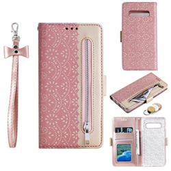 Luxury Lace Zipper Stitching Leather Phone Wallet Case for Samsung Galaxy S10 (6.1 inch) - Pink