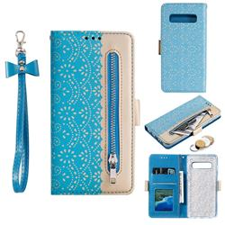 Luxury Lace Zipper Stitching Leather Phone Wallet Case for Samsung Galaxy S10 (6.1 inch) - Blue