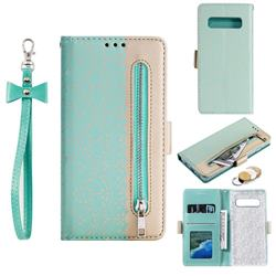Luxury Lace Zipper Stitching Leather Phone Wallet Case for Samsung Galaxy S10 (6.1 inch) - Green