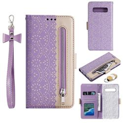 Luxury Lace Zipper Stitching Leather Phone Wallet Case for Samsung Galaxy S10 (6.1 inch) - Purple