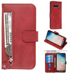Retro Luxury Zipper Leather Phone Wallet Case for Samsung Galaxy S10 (6.1 inch) - Red
