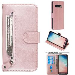 Retro Luxury Zipper Leather Phone Wallet Case for Samsung Galaxy S10 (6.1 inch) - Pink