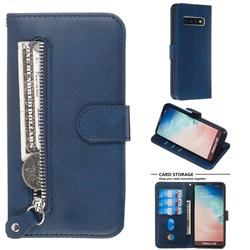 Retro Luxury Zipper Leather Phone Wallet Case for Samsung Galaxy S10 (6.1 inch) - Blue