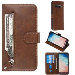 Retro Luxury Zipper Leather Phone Wallet Case for Samsung Galaxy S10 (6.1 inch) - Brown