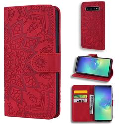 Retro Embossing Mandala Flower Leather Wallet Case for Samsung Galaxy S10 (6.1 inch) - Red