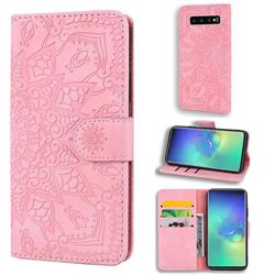 Retro Embossing Mandala Flower Leather Wallet Case for Samsung Galaxy S10 (6.1 inch) - Pink
