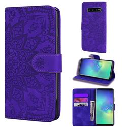 Retro Embossing Mandala Flower Leather Wallet Case for Samsung Galaxy S10 (6.1 inch) - Purple