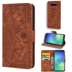 Retro Embossing Mandala Flower Leather Wallet Case for Samsung Galaxy S10 (6.1 inch) - Brown