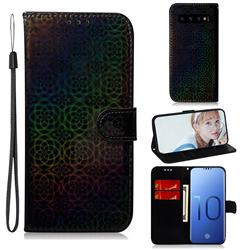 Laser Circle Shining Leather Wallet Phone Case for Samsung Galaxy S10 (6.1 inch) - Black