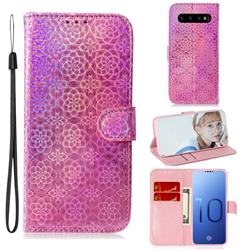 Laser Circle Shining Leather Wallet Phone Case for Samsung Galaxy S10 (6.1 inch) - Pink