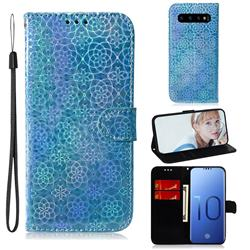 Laser Circle Shining Leather Wallet Phone Case for Samsung Galaxy S10 (6.1 inch) - Blue