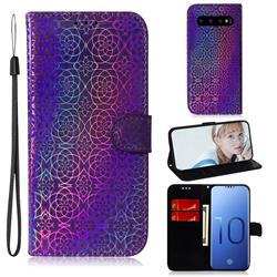 Laser Circle Shining Leather Wallet Phone Case for Samsung Galaxy S10 (6.1 inch) - Purple