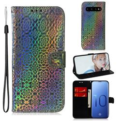 Laser Circle Shining Leather Wallet Phone Case for Samsung Galaxy S10 (6.1 inch) - Silver