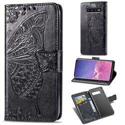 Embossing Mandala Flower Butterfly Leather Wallet Case for Samsung Galaxy S10 (6.1 inch) - Black