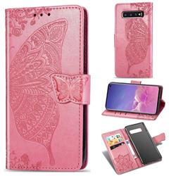 Embossing Mandala Flower Butterfly Leather Wallet Case for Samsung Galaxy S10 (6.1 inch) - Pink