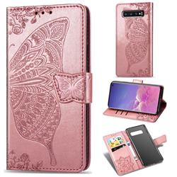 Embossing Mandala Flower Butterfly Leather Wallet Case for Samsung Galaxy S10 (6.1 inch) - Rose Gold
