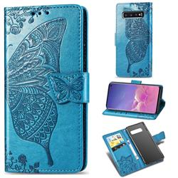 Embossing Mandala Flower Butterfly Leather Wallet Case for Samsung Galaxy S10 (6.1 inch) - Blue