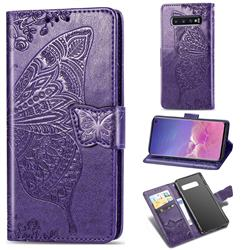 Embossing Mandala Flower Butterfly Leather Wallet Case for Samsung Galaxy S10 (6.1 inch) - Dark Purple