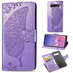 Embossing Mandala Flower Butterfly Leather Wallet Case for Samsung Galaxy S10 (6.1 inch) - Light Purple