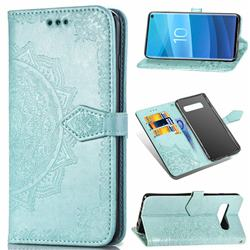 Embossing Imprint Mandala Flower Leather Wallet Case for Samsung Galaxy S10 (6.1 inch) - Green