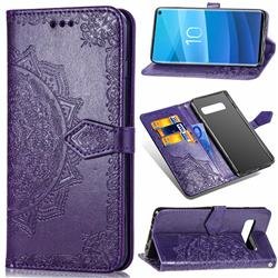 Embossing Imprint Mandala Flower Leather Wallet Case for Samsung Galaxy S10 (6.1 inch) - Purple