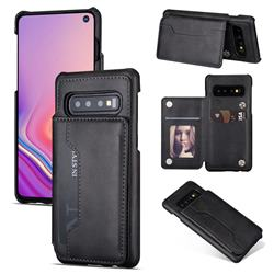 Luxury Magnetic Double Buckle Leather Phone Case for Samsung Galaxy S10 (6.1 inch) - Black