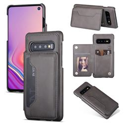 Luxury Magnetic Double Buckle Leather Phone Case for Samsung Galaxy S10 (6.1 inch) - Gray