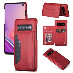 Luxury Magnetic Double Buckle Leather Phone Case for Samsung Galaxy S10 (6.1 inch) - Red