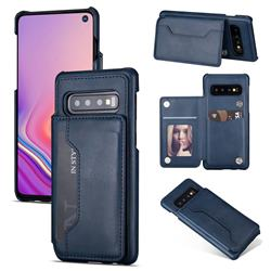 Luxury Magnetic Double Buckle Leather Phone Case for Samsung Galaxy S10 (6.1 inch) - Blue