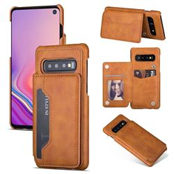 Luxury Magnetic Double Buckle Leather Phone Case for Samsung Galaxy S10 (6.1 inch) - Brown