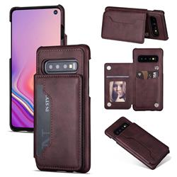 Luxury Magnetic Double Buckle Leather Phone Case for Samsung Galaxy S10 (6.1 inch) - Purple