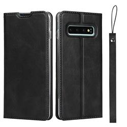 Calf Pattern Magnetic Automatic Suction Leather Wallet Case for Samsung Galaxy S10 (6.1 inch) - Black