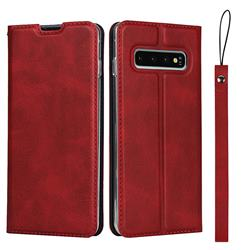 Calf Pattern Magnetic Automatic Suction Leather Wallet Case for Samsung Galaxy S10 (6.1 inch) - Red
